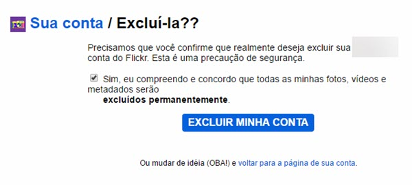 Cancelar conta do Flickr