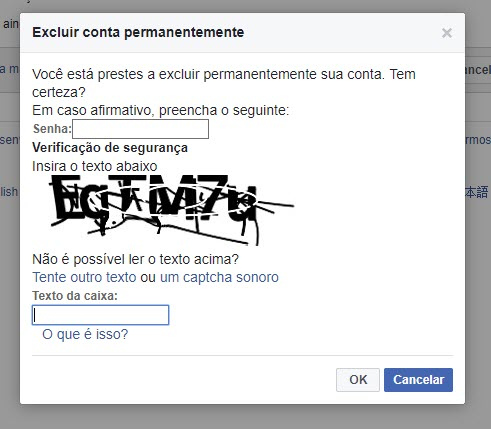 Excluir o Facebook definitivamente