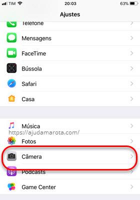 Ajustes Câmera iPhone