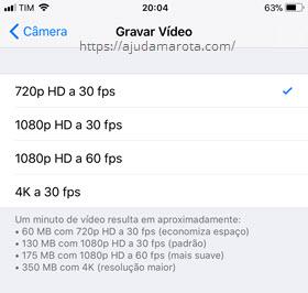 Configuração qualidade Vídeo iPhone