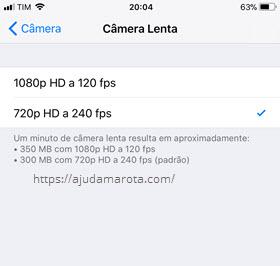 Configuração qualidade Câmera Lenta iPhone