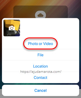 Enviar foto ou vídeo no app Telegram iPhone