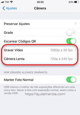 Gravar vídeo Câmera lenta qualidade iPhone