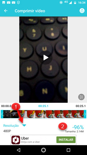 comprimir video com VidCompact Android