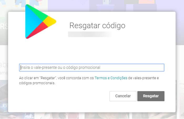 Digitar código para colocar crédito no Google Play