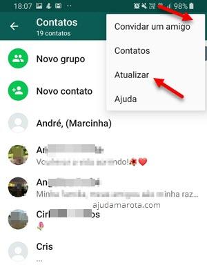 Atualizar lista de contatos dentro do WhatsApp