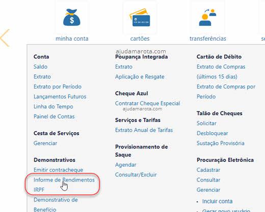 Demonstrativos Informe de Rendimentos IRPF Caixa internet banking
