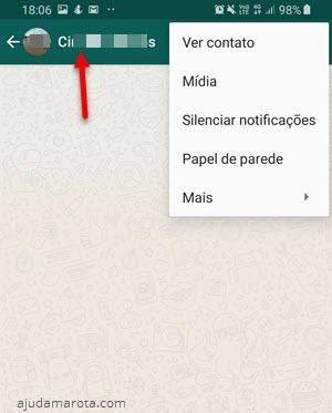 toque no nome da pessoa no menu superior WhatsApp