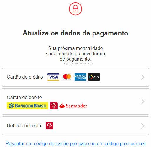Atualizar informações de pagamento do Netflix