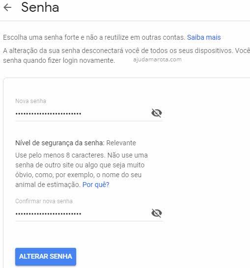 Criar nova senha forte no Gmail