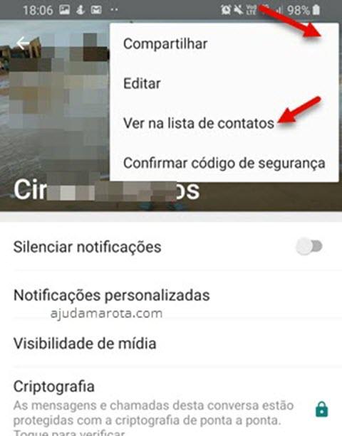 ícone três bolinhas ver na lista de contato WhatsApp