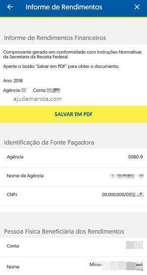 informe pelo app BB, salvar como PDF