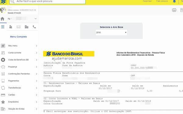 Informe de rendimentos do Banco do Brasil pelo site