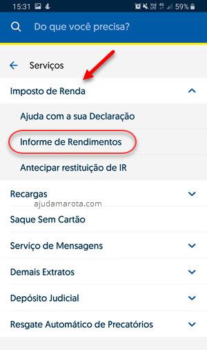 Serviços imposto de renda informe Banco do Brasil app