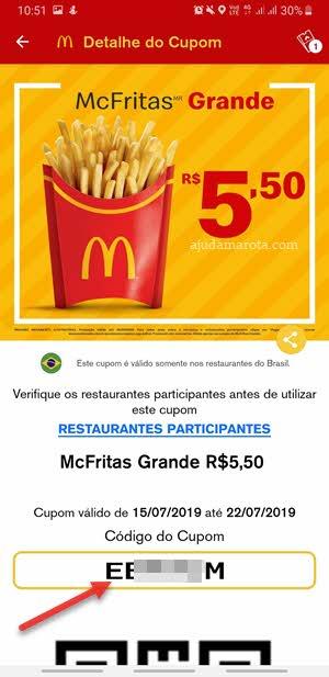 Código cupons de desconto para o McDonald's