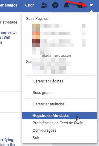 menu setinha Registro de Atividades Facebook