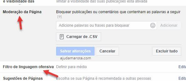 Moderação de página e filtro de linguagem para bloquear comentários páginas Facebook