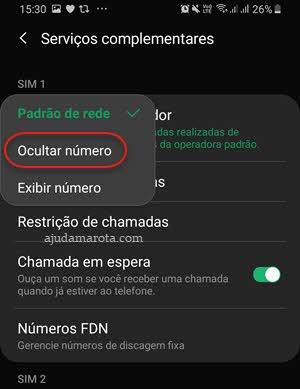 Ocultar número de telefone ao fazer ligação Android