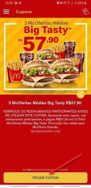 ofertas McDonalds cupons aplicativo