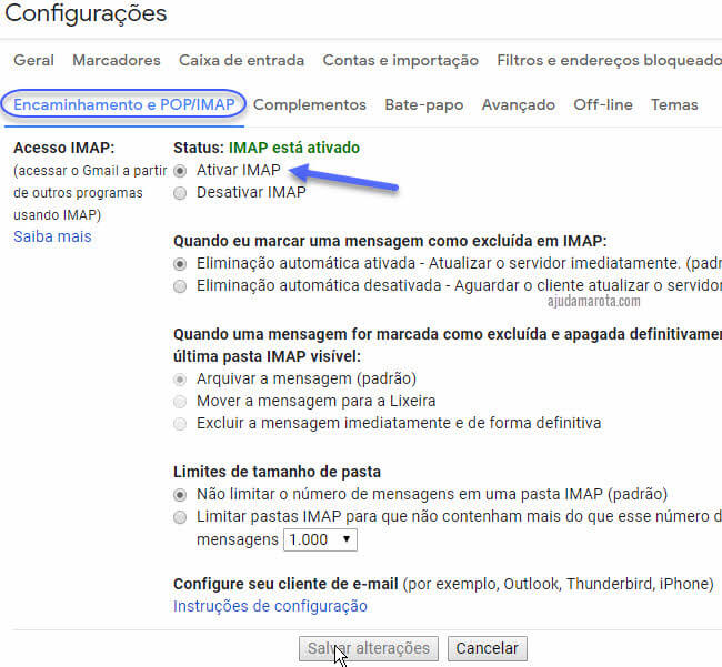 Ativar IMAP no Gmail para sincronizar no Outlook