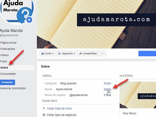 Como mudar o nome de uma página no Facebook