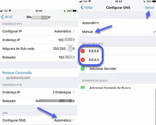 Como usar DNS do Google no iPhone