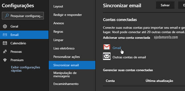 Como usar um email do Gmail no Outlook