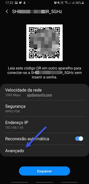Detalhes da conexão Android avançado DNS