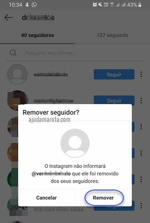 Excluir remover seguidor pelo aplicativo Instagram