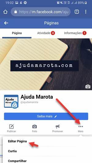 ícone três bolinhas Editar página Facebook navegador celular