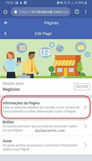 Informações da página no navegador do celular