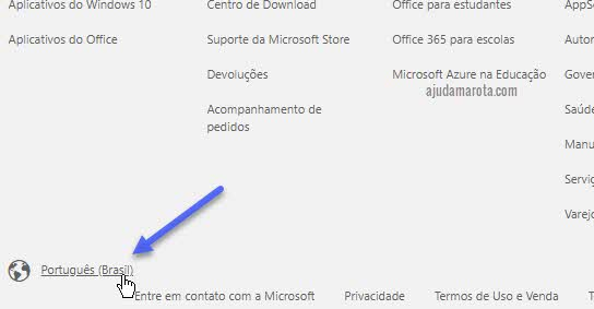 Alterar país região da Microsoft Store no site online