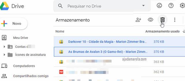 Apagar arquivos do Google Drive para liberar espaço