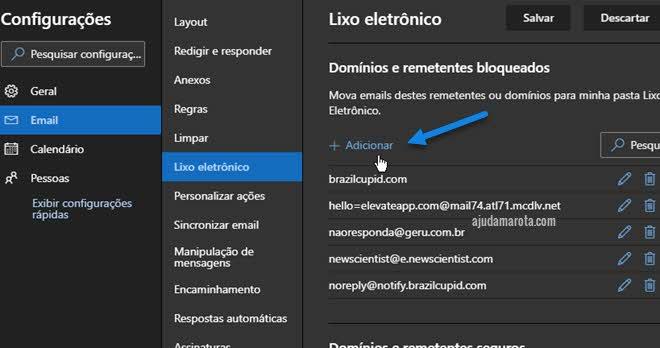 Bloquear remetente de email nas configurações do OUtlook web