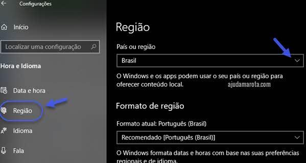Como mudar país da conta Microsoft Store nas configurações do Windows