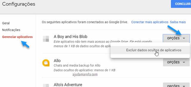 Excluir dados ocultos de aplicativos no Google Drive
