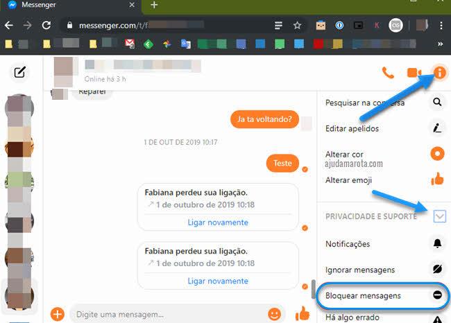 Bloquear mensagens de pessoas apenas no Messenger do Facebook