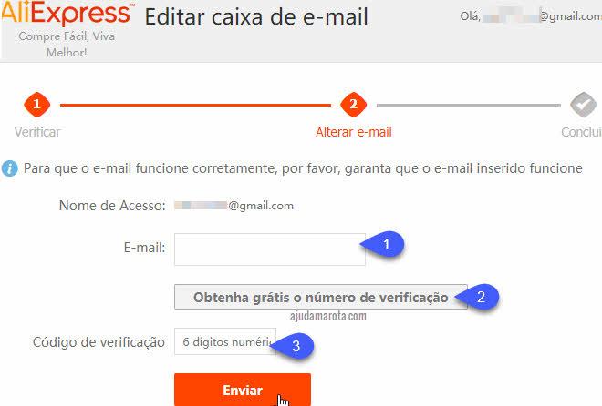 Como trocar email do AliExpress Brasil