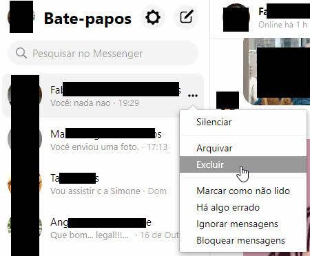 Excluir conversa do Facebook Messenger bate-papo
