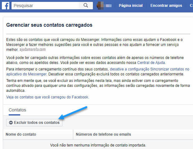Gerenciar excluir contatos carregados no Messenger e Facebook