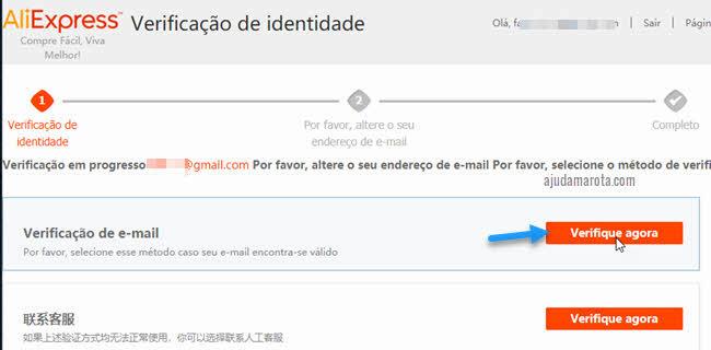 Verificação de email AliExpress para trocar email