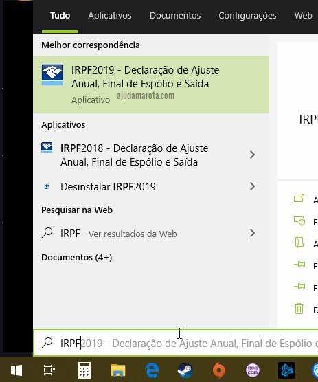 Abrir programa IRPF Imposto de Renda no Windows