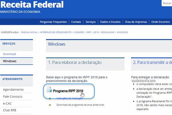 Download programa IRPF declaração Pessoa Física Receita Federal