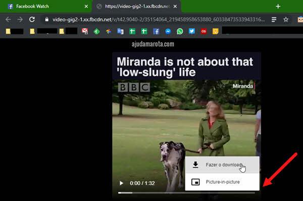 ícone três bolinhas fazer download vídeo Facebook no computador sem programas