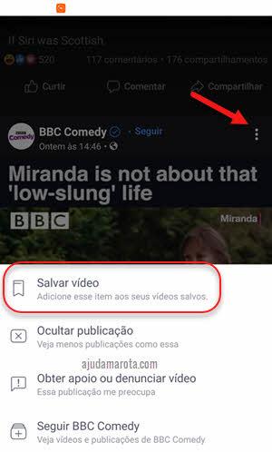 ícone três bolinhas salvar vídeo no Facebook