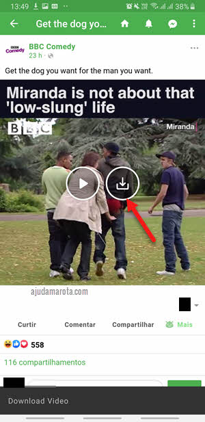 salvar download de vídeo do Facebook no Android e iOS Friendly app