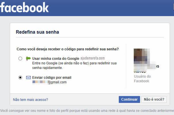 Código para redefinir senha do Facebook