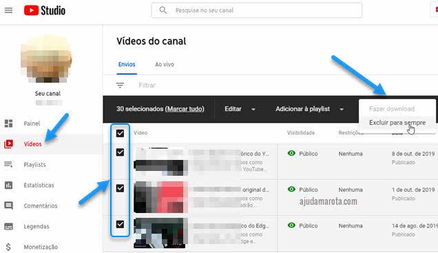 Como excluir vídeo no YouTube pelo computador