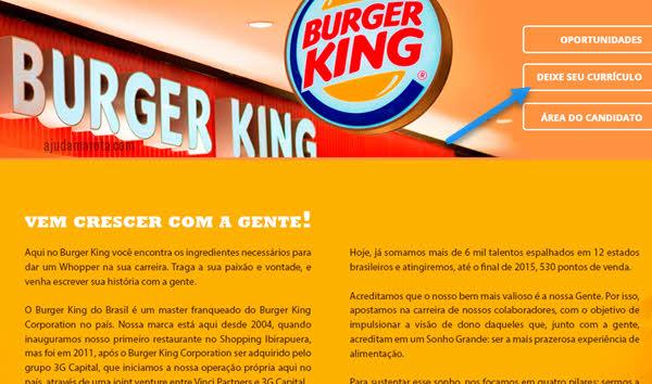 Como trabalhar no Burger King, emprego