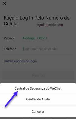 Central de segurança do WeChat aplicativo